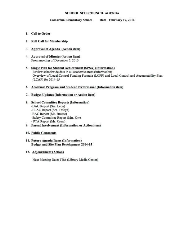 SSC Agenda for Feb  19, 14