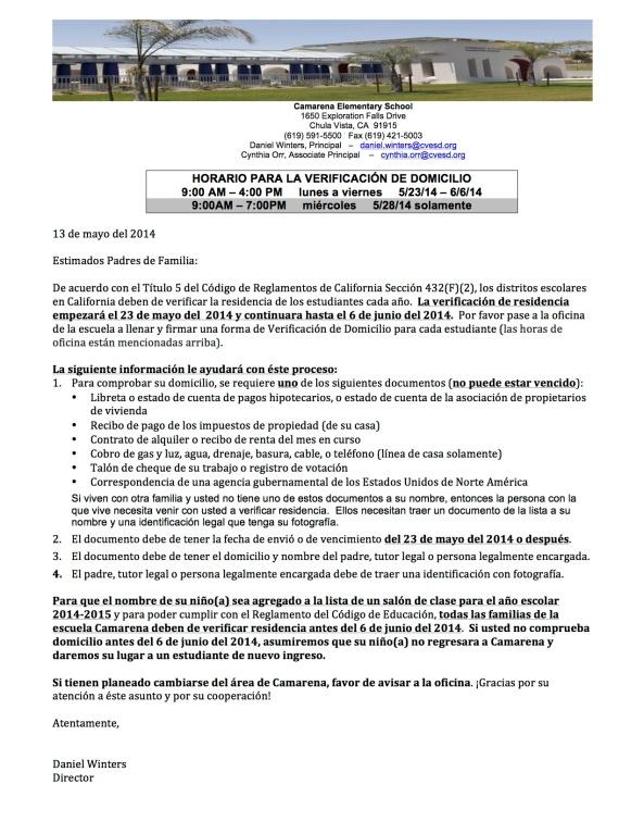 Ltr - Verification of Residency  14-15 2 sp