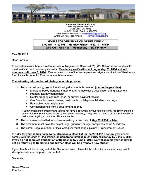 Ltr - Verification of Residency  14-15 2