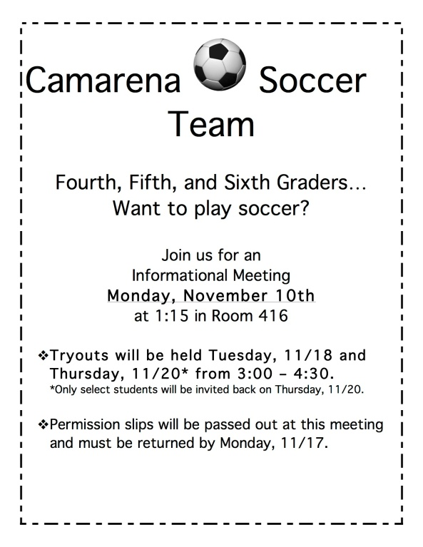 Camarena Soccer Tryouts 2014-15