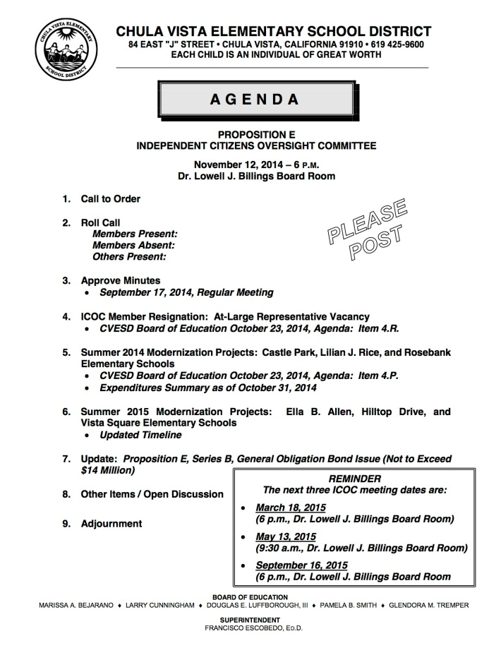 ICOC 11-12-2014 Agenda (Please Post)