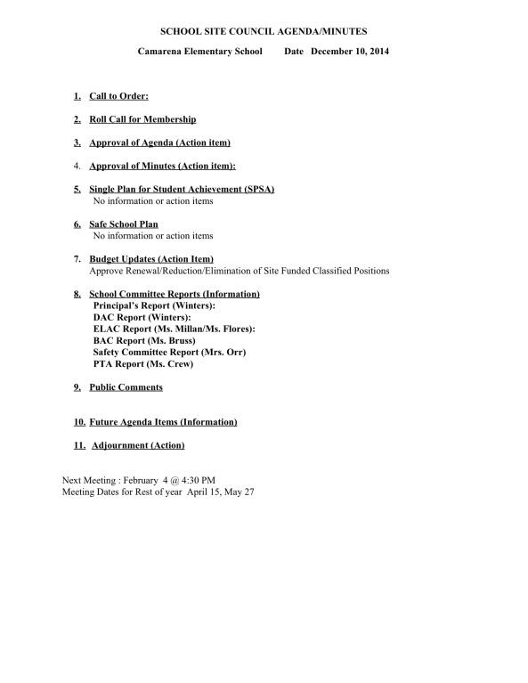 SSC Agenda December 10