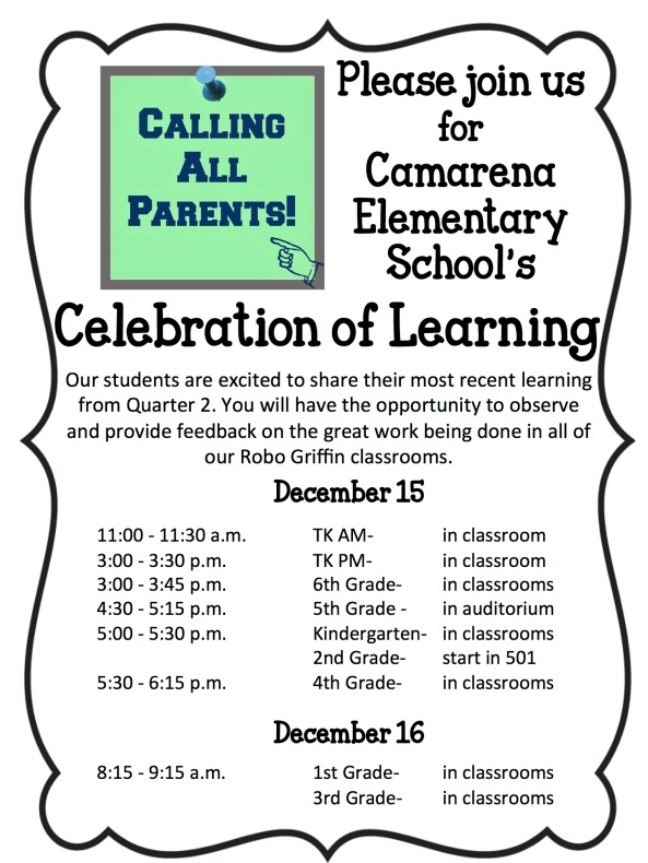 Celebration of Learning Flyer